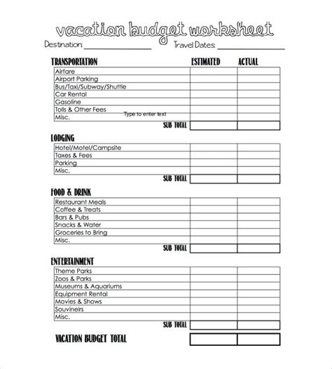 travel budget template travel budget template 13 free word excel pdf