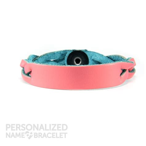 personalized leather bracelet pink id personalized