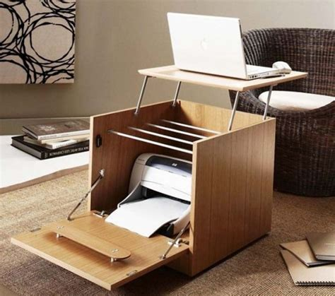 Computer Desk With Storage Space Interior Smart Folding Computer Desk Printer Storage Into Wood Cube Awesome Furniture Design
