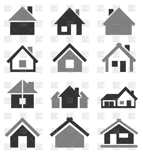 set of house icons vector image 82707 rfclipart
