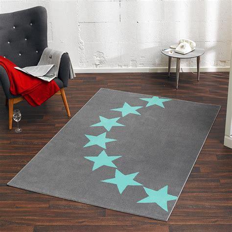 grau blau teppich design velours teppich sterne grau blau 140x200 cm