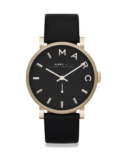 Marc Black lyst marc by marc baker goldtone stainless steel leather black in black