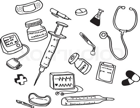 nurse tools coloring page doctor tools clipart black and white clipartxtras