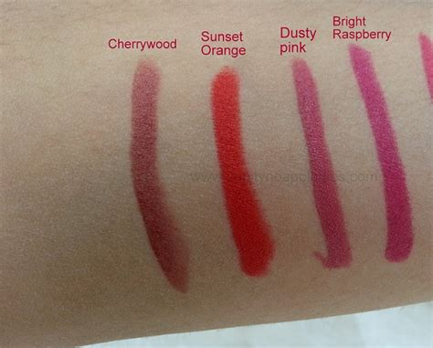 dusty pink l shade preview and swatches of all 8 shades brown sticks