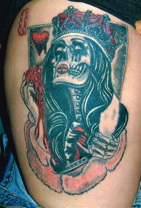 tattoo queen of hearts meaning queen of hearts tattoo by ken evans goth and industrial