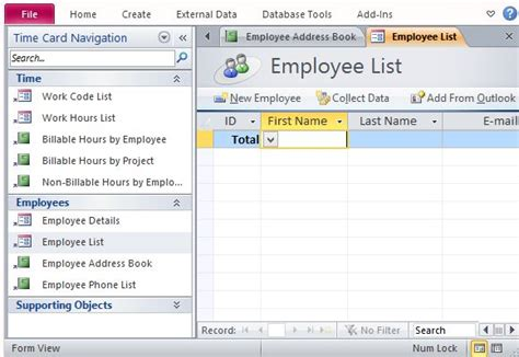 access 2007 time card database template track employee hours with desktop time card template for