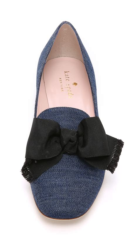 denim slippers lyst kate spade new york gino slippers in blue