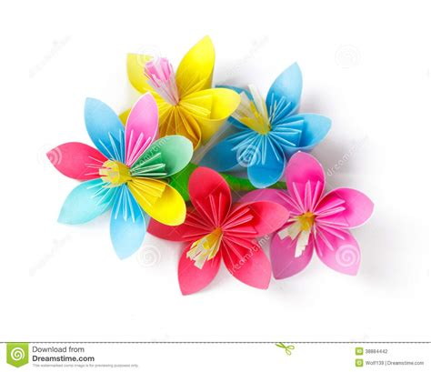 How To Make Colored Paper Flowers - many colored paper flowers stock photo image 38884442