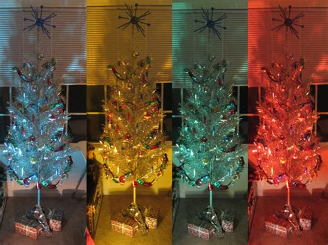 aluminum christmas tree with color wheel light of all the
