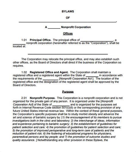 7 Bylaws Templates Sle Templates Corporate Bylaws Template Free