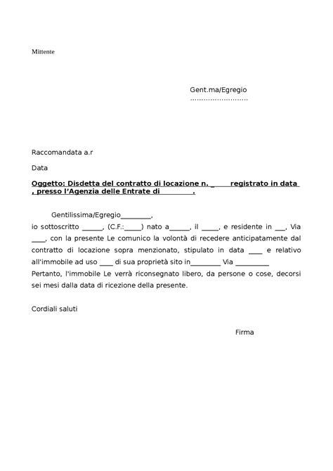 fac simile lettera disdetta appartamento in affitto modello disdetta anticipata contratto di locazione docsity
