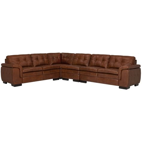 large brown leather sectional city furniture trevor medium brown leather large two arm