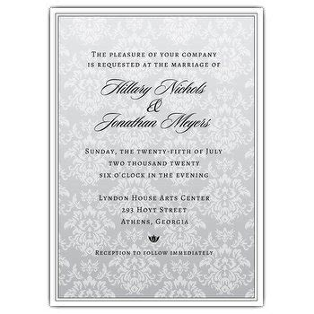 damask paper platinum wedding invitations paperstyle - Platinum Wedding Invitations