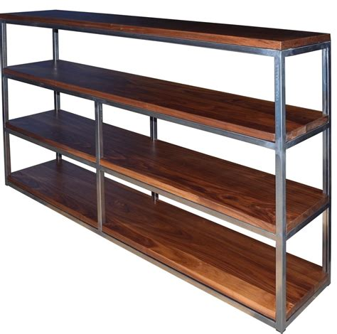 handmade floating walnut wood and steel shelf by