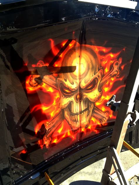 skulls  flames ford airbrush art professional air