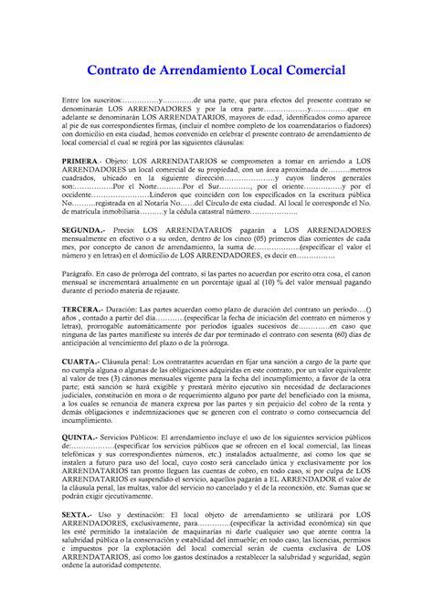 contrato de arrendamiento de local comercial a r producciones