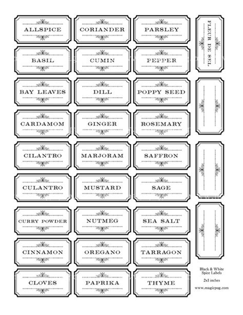 30 Best Spice Jar Labels And Templates Images On Pinterest Printable Labels Cooking Food And Spice Jar Label Template