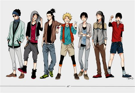 boys in casual and modern clothing fashion anime
