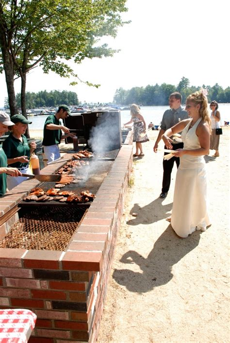 outdoor wedding reception on sebago lake in southern maine