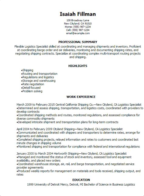 Logistics Management Specialist Sle Resume by Sle Resume For Logistics Manager 28 Images Resume Logistics Sales Logistics Lewesmr Sle