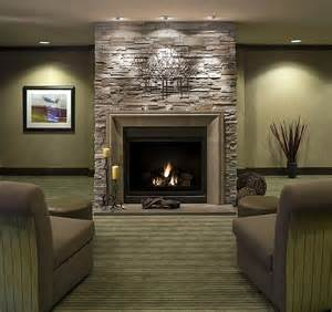 black wood burning fireplace design idea with gray