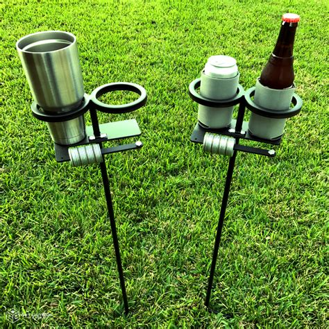 backyard drink holders skolders ground stakes set of 2 outdoor game score