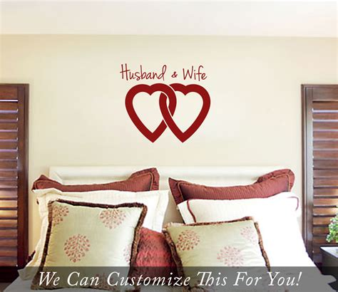 Husband And Bedroom by Husband And Linked Hearts Wall Vinyl Lettering Decal