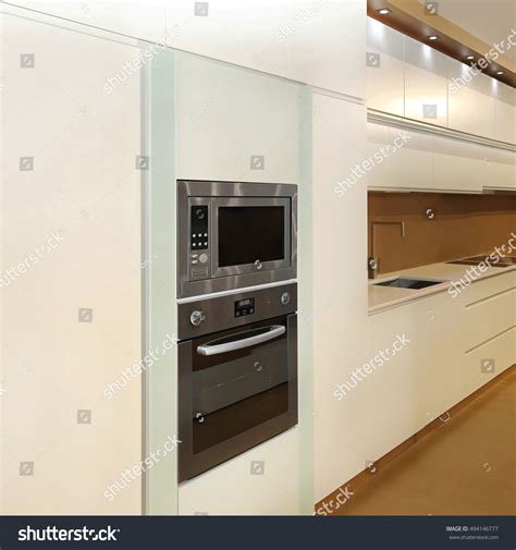 microwave convection oven built new cabinet stock photo