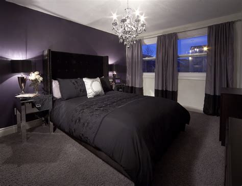 black and purple room bedroom with purple feature wall and drapery crystal