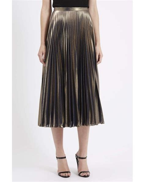 Metallic Pleated Midi Skirt topshop metallic pleated midi skirt in gold lyst