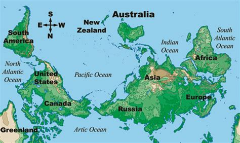 australia in world map australian world view
