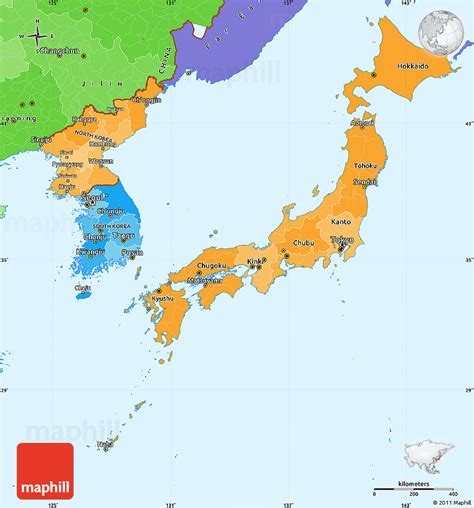 political map of japan political shades simple map of japan