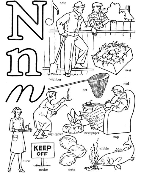N Words Coloring Page | letter n coloring pages coloring home