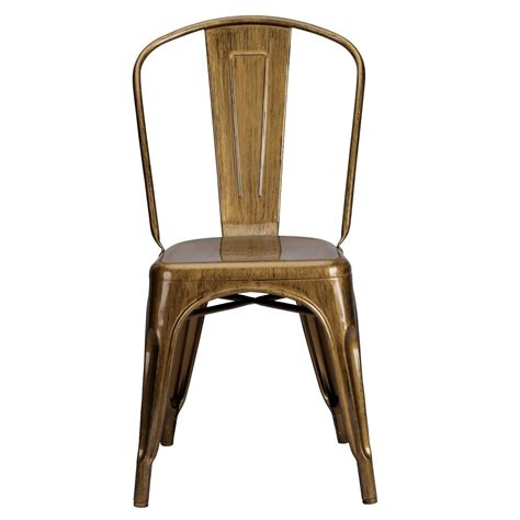 vintage tolix style metal brass gold finish dining chair furniture la maison chic luxury interiors