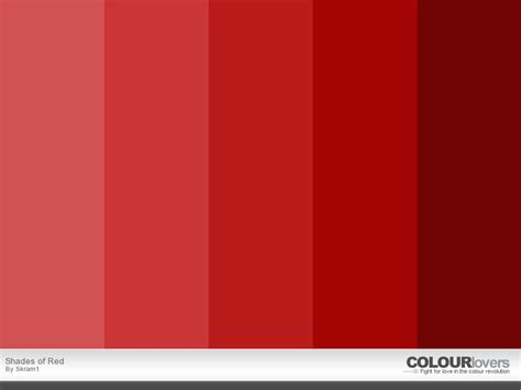 different shades of red shades of red