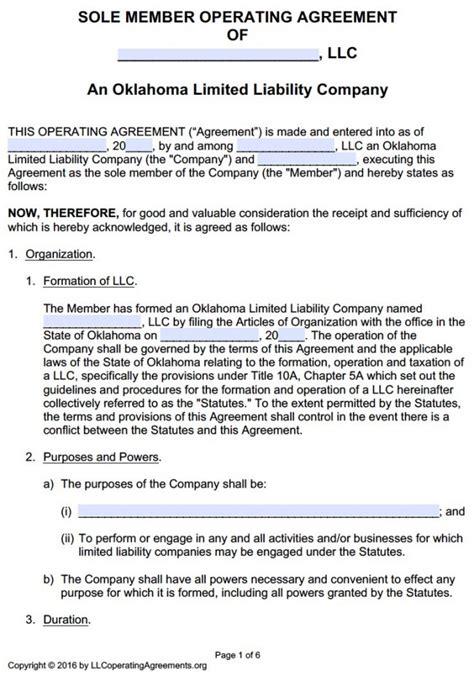 Oklahoma Single Member Llc Operating Agreement Free Llc Operating Agreements Free Llc New Mexico Llc Operating Agreement Template