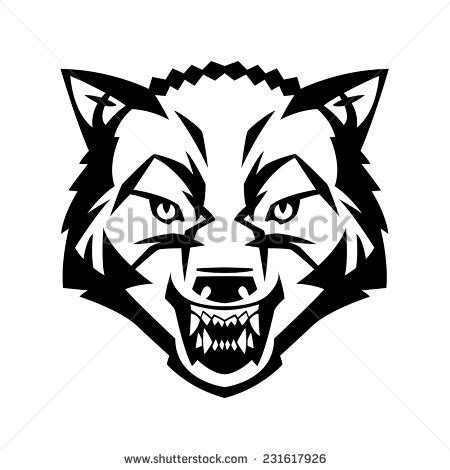 wolf tattoo logo wolfs head showing teeth harsh beast stock vector