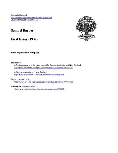 Barber Essay by Barber Essay By Scoresondemand Issuu