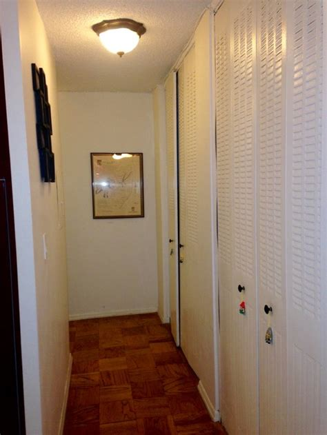 hallway closet doors re do small hallway modernize floors walls lighting