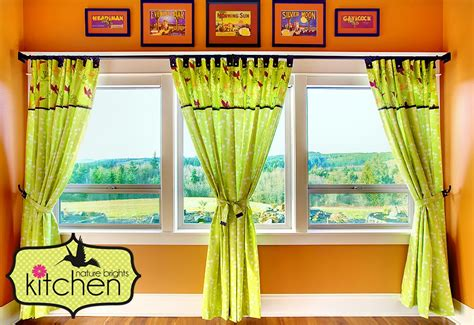 nature brights kitchen tab top panel curtains with button