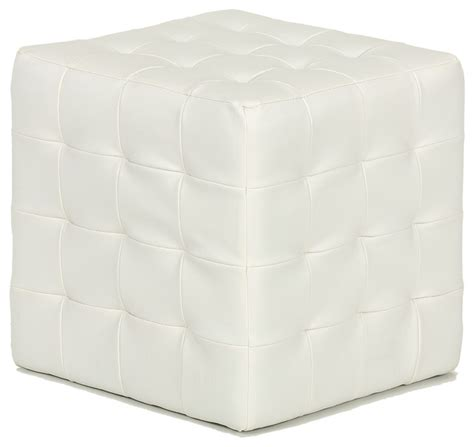 White Leather Cube Ottoman Cortesi Home Jojo White Tufted Cube Ottoman Faux Leather View In Your Room Houzz