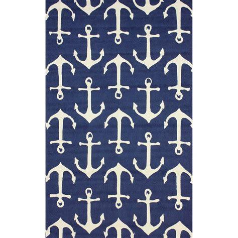anchor rug nuloom indoor outdoor novelty nautical anchors navy area rug 8 x 1
