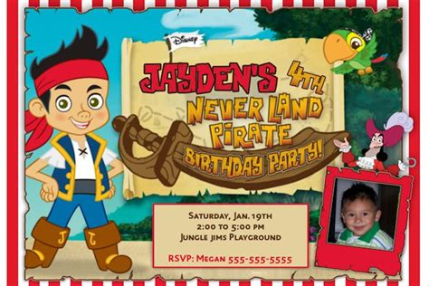 jake and the neverland template free jake and the neverland birthday invitations