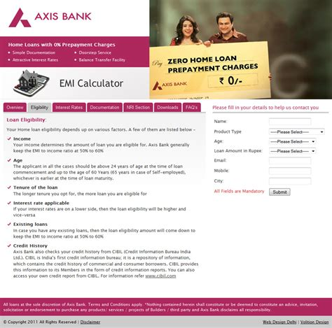 housing loan axis bank web development delhi website design delhi web design portfolio volition design