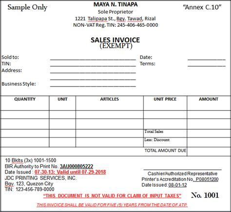 sle vat invoice philippines bir bir s new invoicing requirements effective june 30 2013