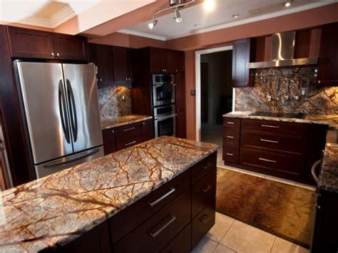 Dark Gray Dining Room Kitchen Countertops Granite Rainforest Brown Granite