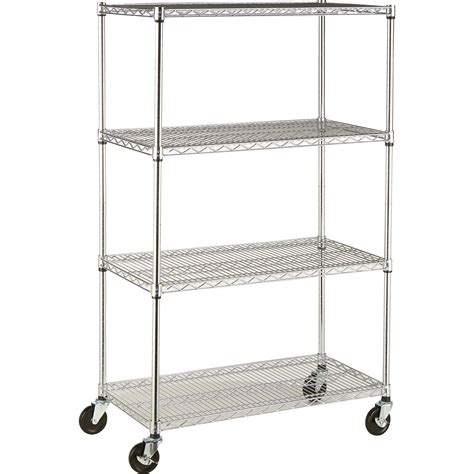 nsf wire shelving 4 tier nsf wire shelving rack with casters 36in w x 18in d x 54in h model tbfz 0911