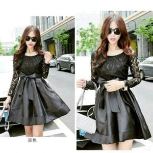 Baju Cewek Pakaian Wanita Mini Dress Pendek Hitam List Putih Clo583 Baju Dress Pendek Cantik Dan Murah Warna Hitam Terbaru