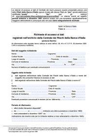 visura centrale rischi d italia modulo richiesta dati centrale rischi d italia