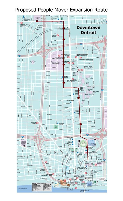 detroit people mover map expansionroute